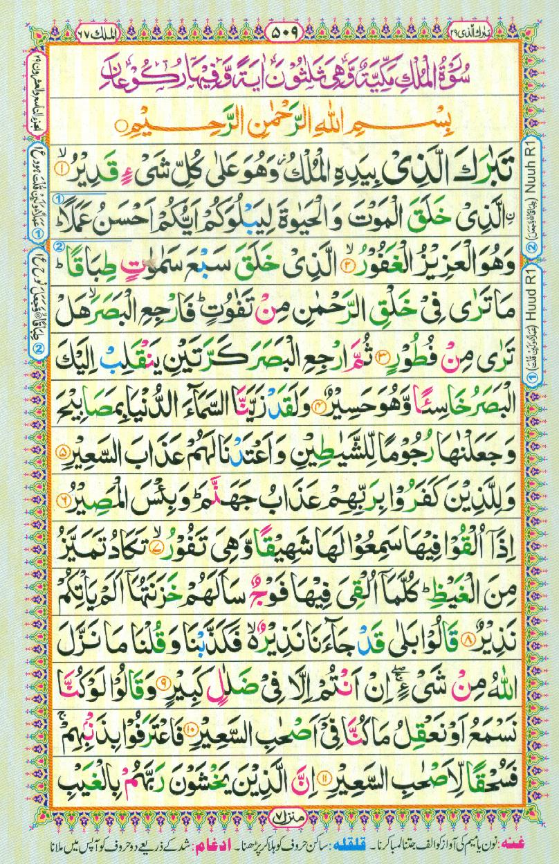 Reading Al Quran Part / Chapter / Siparah 29 Page 509 on
