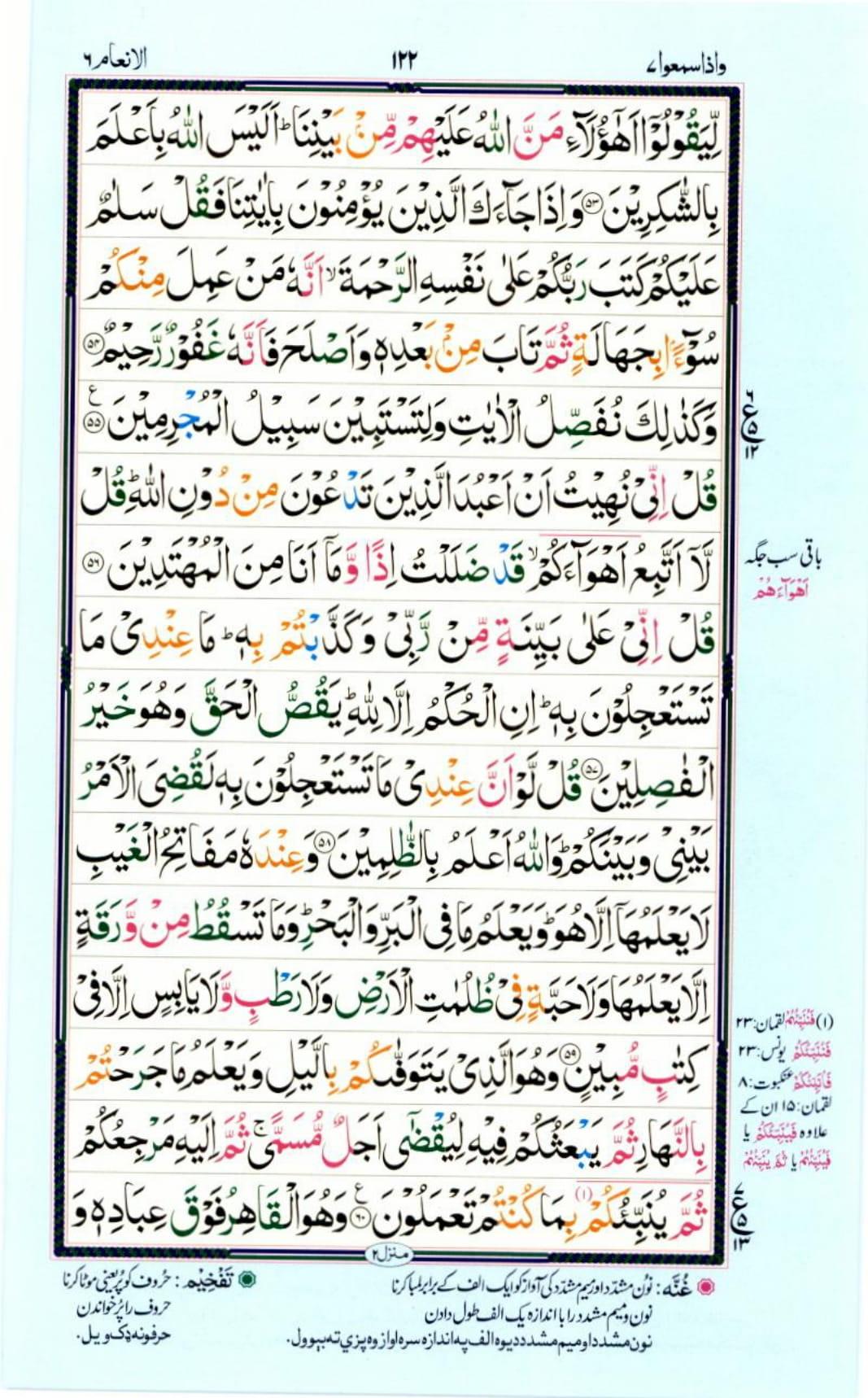 Reading Al Quran Part / Chapter / Siparah 7 Page 122