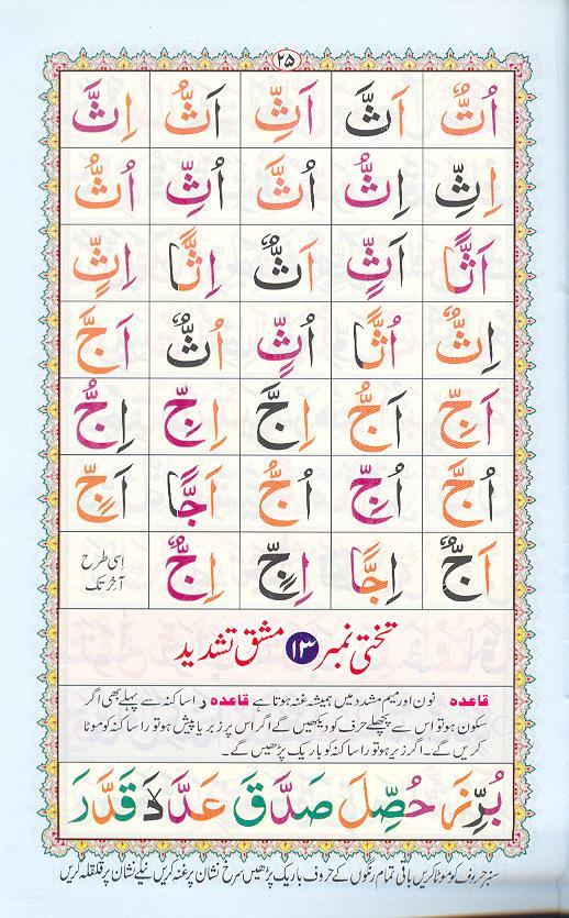 Reading Noorani Qaidah Page Number 25