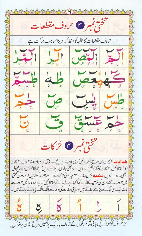 Reading Noorani Qaidah Page Number 6