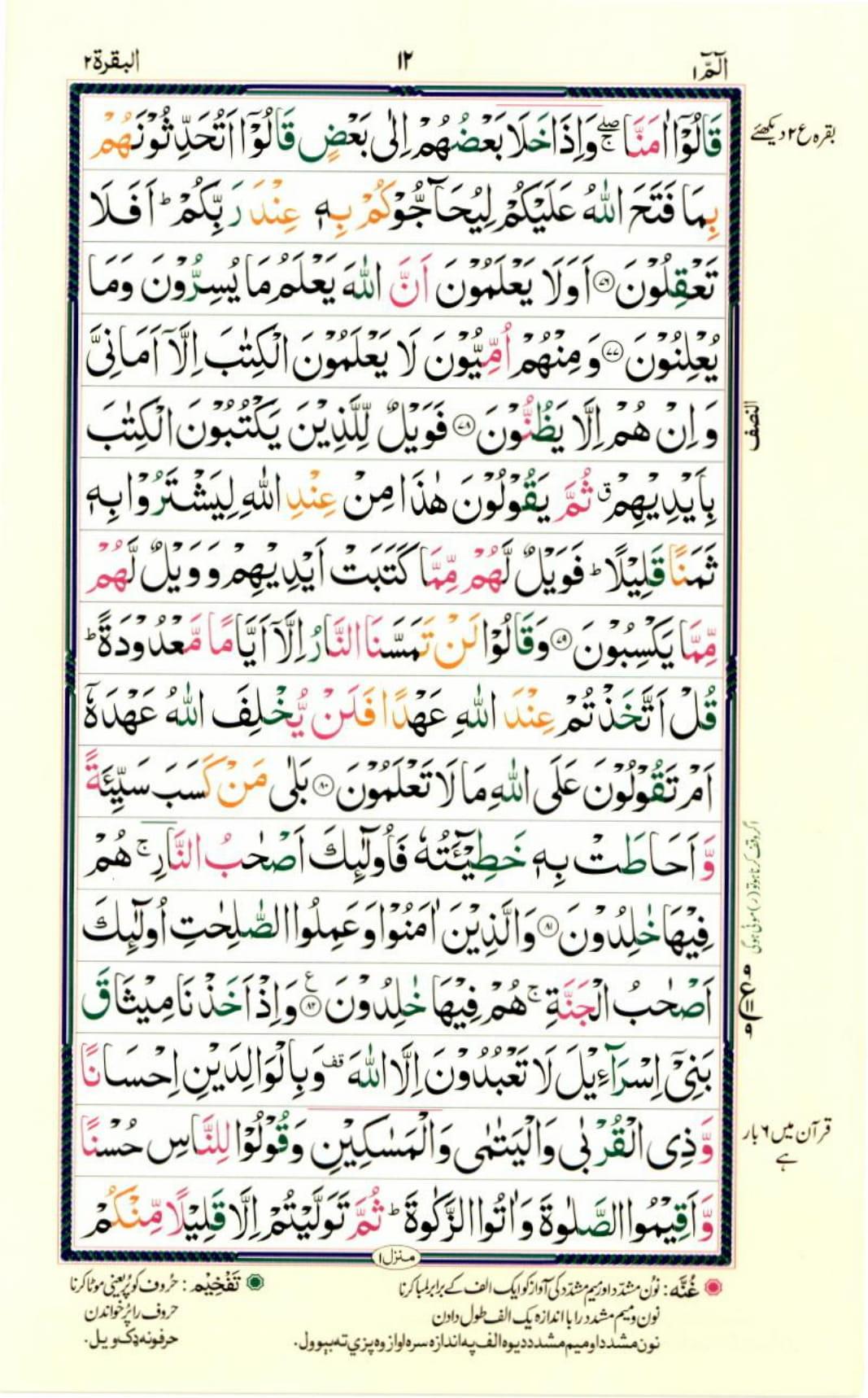 Reading Al Quran Part / Chapter / Siparah 1 Page 12