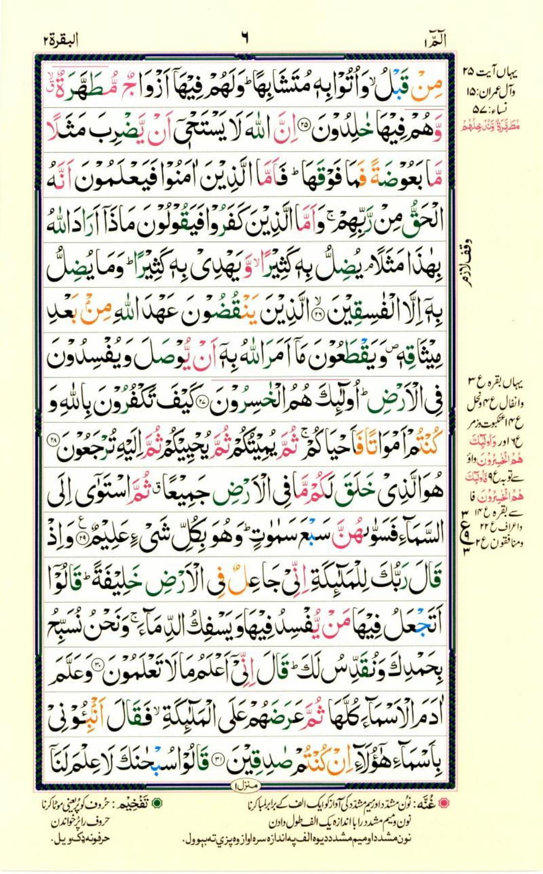 Reading Al Quran Part / Chapter / Siparah 1 Page 6