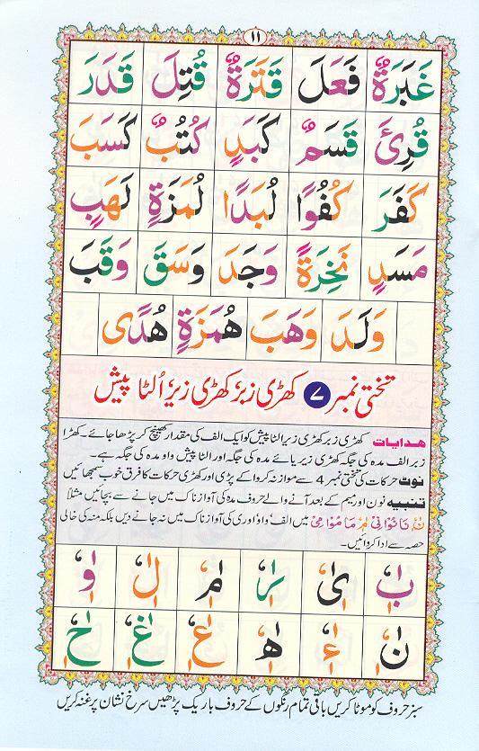 Reading Noorani Qaidah Page Number 11