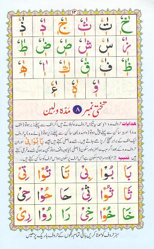 Reading Noorani Qaidah Page Number 12