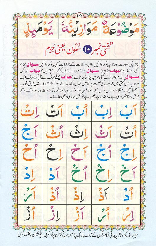 Reading Noorani Qaidah Page Number 18