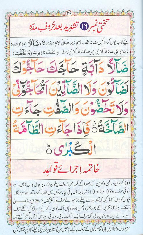 Reading Noorani Qaidah Page Number 29