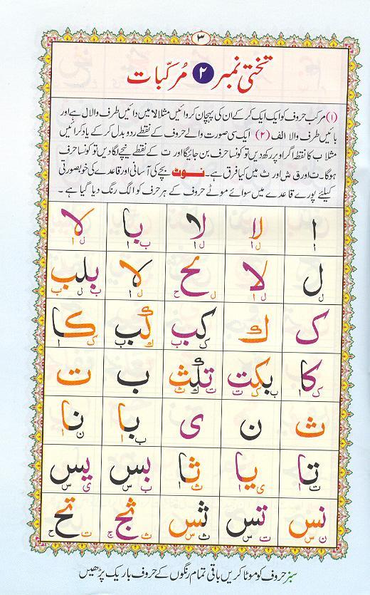 Reading Noorani Qaidah Page Number 3