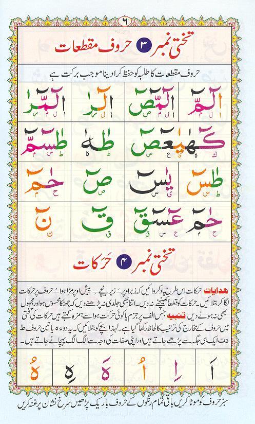 Reading Noorani Qaidah Page Number 6