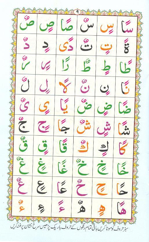 Reading Noorani Qaidah Page Number 9